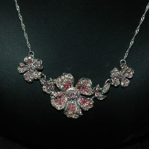 Pink Floral Pave Necklace